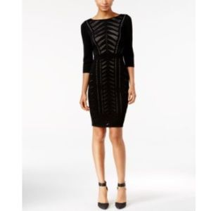 Calvin Klein Womens Illusion Knit Cocktail Dress